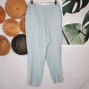 FLAX Light Blue Linen Crop Pants Lagenlook Boho S